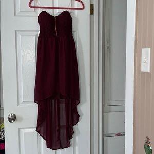 Burgundy Strapless Hi Low Dress Zip Front
